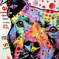 Thoughtful Pitbull Luv Is A Pittie Poster by Dean Russo