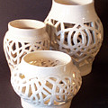 Three Interlaced Design Wheel Thrown Pots Print by Carolyn Coffey Wallace
