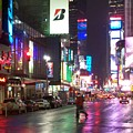 Times Square in the rain 2 Print by Anita Burgermeister