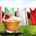 Towels drying on the clothesline Print by Sandra Cunningham