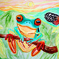 Tree Frog and Butterfly Poster by Nick Gustafson