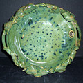 Trout Pattern Glaze Bowl with Leaves Poster by Carolyn Coffey Wallace