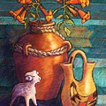 Trumpet Vines and Pottery Poster by Candy Mayer
