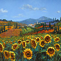 Tuscan Sunflowers Poster by Chris Mc Morrow