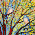 Two Bluebirds Poster by Jennifer Lommers