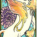 unicorn and flowers Print by Jenn Cunningham