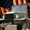 United States Army Truck and American Flag  Print by Anne Kitzman