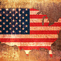 USA Star and Stripes Map Print by Michael Tompsett