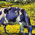 Van Gogh.s Starry Blue Cow . 7D16140 Poster by Wingsdomain Art and Photography