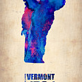 Vermont Watercolor Map Poster by Naxart Studio