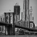 View Of One World Trade Center And Brooklyn Bridge Poster by Matt Pasant