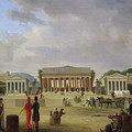 View of the Grand Theatre Constructed in the Place de la Concorde for the Fete de la Paix Poster by Jean Baptiste Louis Cazin