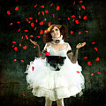 Vintage Dancer Series Raining Rose Petals  Poster by Cindy Singleton