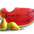 Watermelon and Pears Poster by Carlos Caetano