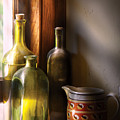 Wine - Three bottles Poster by Mike Savad