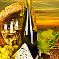 Wine and cheese romantic dinner outdoor Poster by Anna Omelchenko