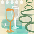 Wine For Two Print by Linda Woods