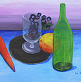 Wine glass and fruits Print by Jose Valeriano