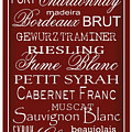 Wine List Red Poster by Rebecca Gouin