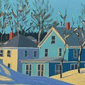 Winter Linden Street Print by Laurie Breton