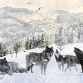 Winter Wolves Print by Lourry Legarde