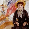 Woman in Boat with Canoeist Print by Renoir