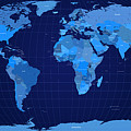 World Map in Blue Poster by Michael Tompsett