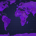 World Map in Purple Print by Michael Tompsett