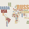 World Map in Words 2 Poster by Michael Tompsett