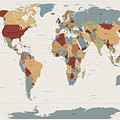 World Map Muted Colors Print by Michael Tompsett