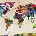 World Map Watercolor Print by Michael Tompsett