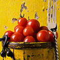 Yellow bucket with tomatoes Print by Garry Gay