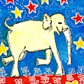 Yellow elephant facing right Poster by Sushila Burgess