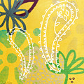 Yellow Paisley Garden Poster by Linda Woods