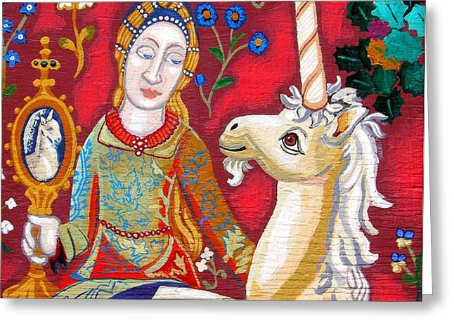 Lady And The Unicorn Greeting Card by Genevieve Esson