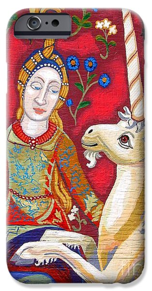 Lady And The Unicorn iPhone Case by Genevieve Esson