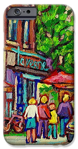 MONKLAND TAVERN CORNER OLD ORCHARD MONTREAL STREET SCENE PAINTING iPhone Case by CAROLE SPANDAU