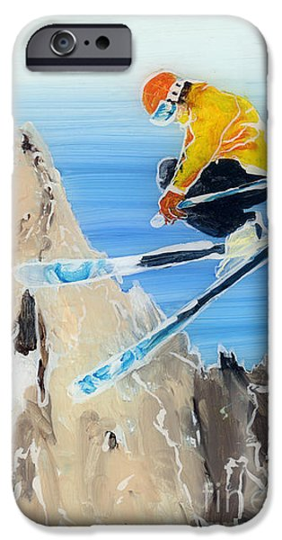 Skiing at Flegere iPhone Case by Sara Pendlebury