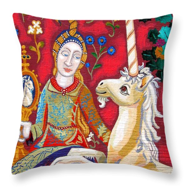 Lady And The Unicorn Throw Pillow by Genevieve Esson