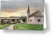 Country Church Greeting Card by Debra and Dave Vanderlaan